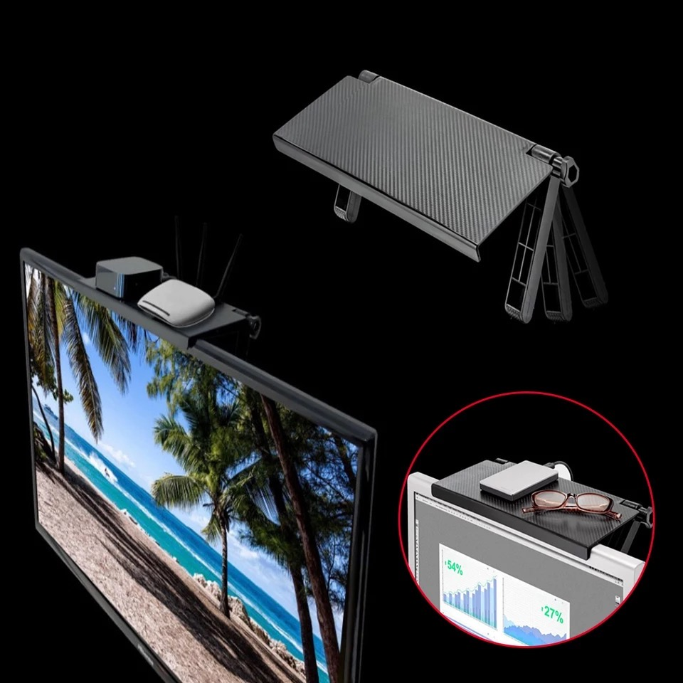 Amazon adjustable TV screen caddy top shelf Monitor Mount Organizer screen storage rack