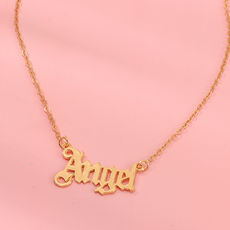 custom letter necklace alphabet ANGEL gold old english font letters old english letter necklace jewelry