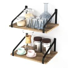 Floating Shelves Wall Mount Rustic Wood Wall Shelves with Large Storage L16 x <strong>W11</strong> inch for Kitchen Living Room Bathroom Bedroom