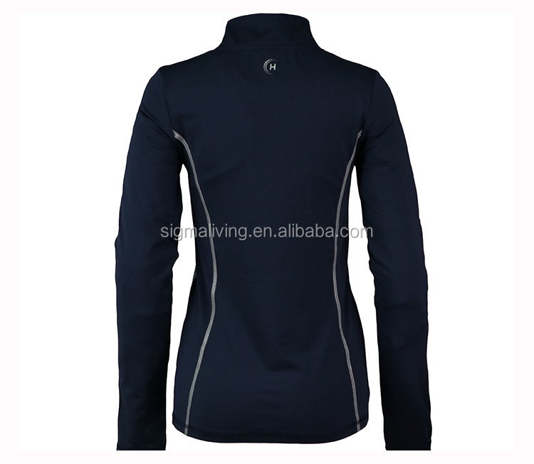 Spring and autumn equestrian sports breathable sweat-wicking stand collar ladies long-sleeved slim top