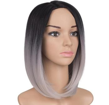 synthetic and human hair mix lace wig, synthetic bob wig silver
