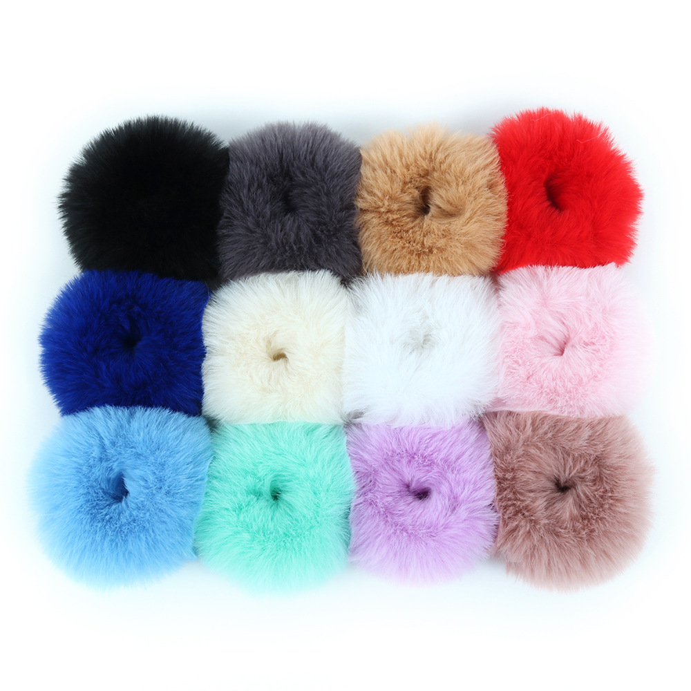 High quality Girl Hair Band accessory Artificial Faux Fur Elastic Ring Rope Fluffy Tie Scrunchie Ponytail Band Thick Hairs