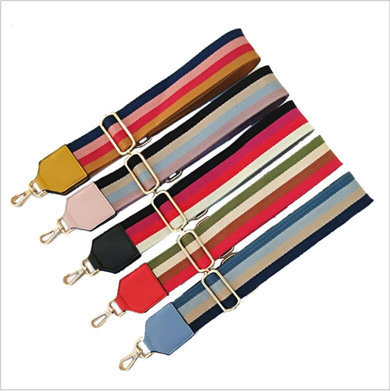 Factory Customized Fashion Wide Side Replaceable Adjustable Polyester Stripe Bag Shoulder Strap