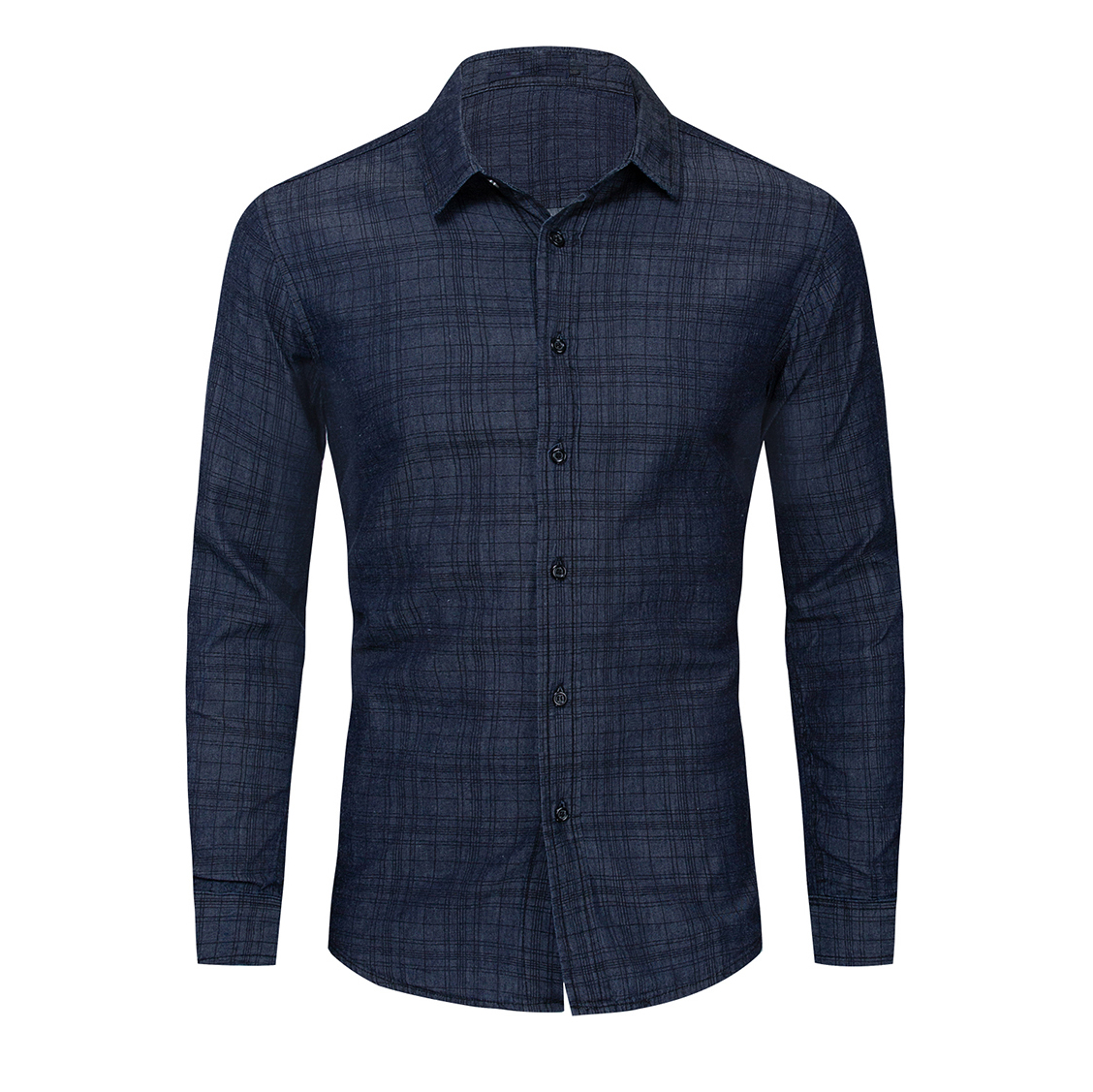 2020 New Fashion Men  Plaid Shirt 100% Cotton  Long Sleeve Casual Shirts Button Down Denim Male Clothing
