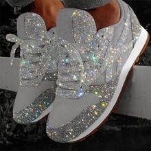 Fashion Mesh <strong>Flat</strong> Casual Shoes Glitter Woman Sneakers Sport Shoes Plus Size 41 42 43