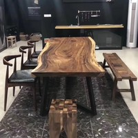 China supplier good quality acacia walnut slabs rustic bar restaurant wood dining table