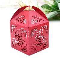 Chinese double happiness laser cut red wedding candy box