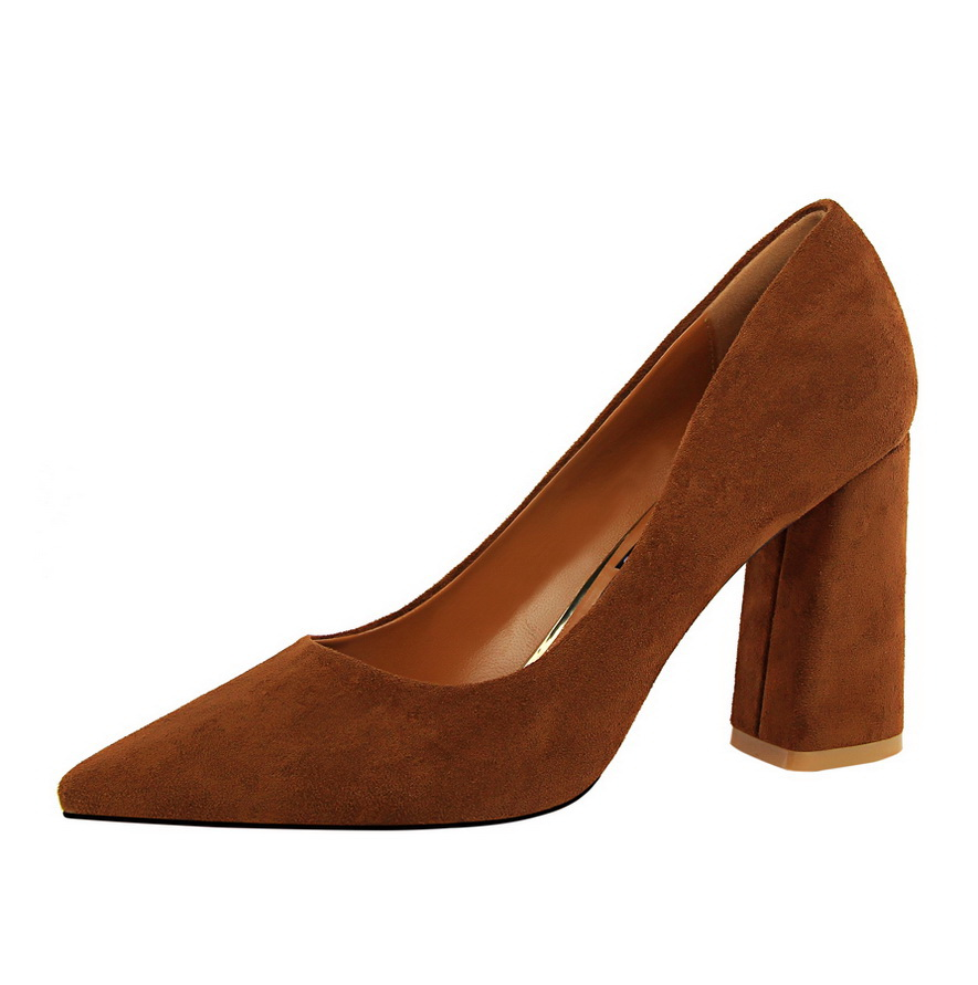 828-2 Simple coarse <strong>heel</strong> with high <strong>heel</strong> suede surface light mouth-pointed OL slimming women's shoes high-<strong>heeled</strong> shoes