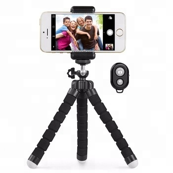 Mobile Phone Tripod with Adjustable OCTOPUS style legs and Bluetooth Wireless Remote mobile phone holder