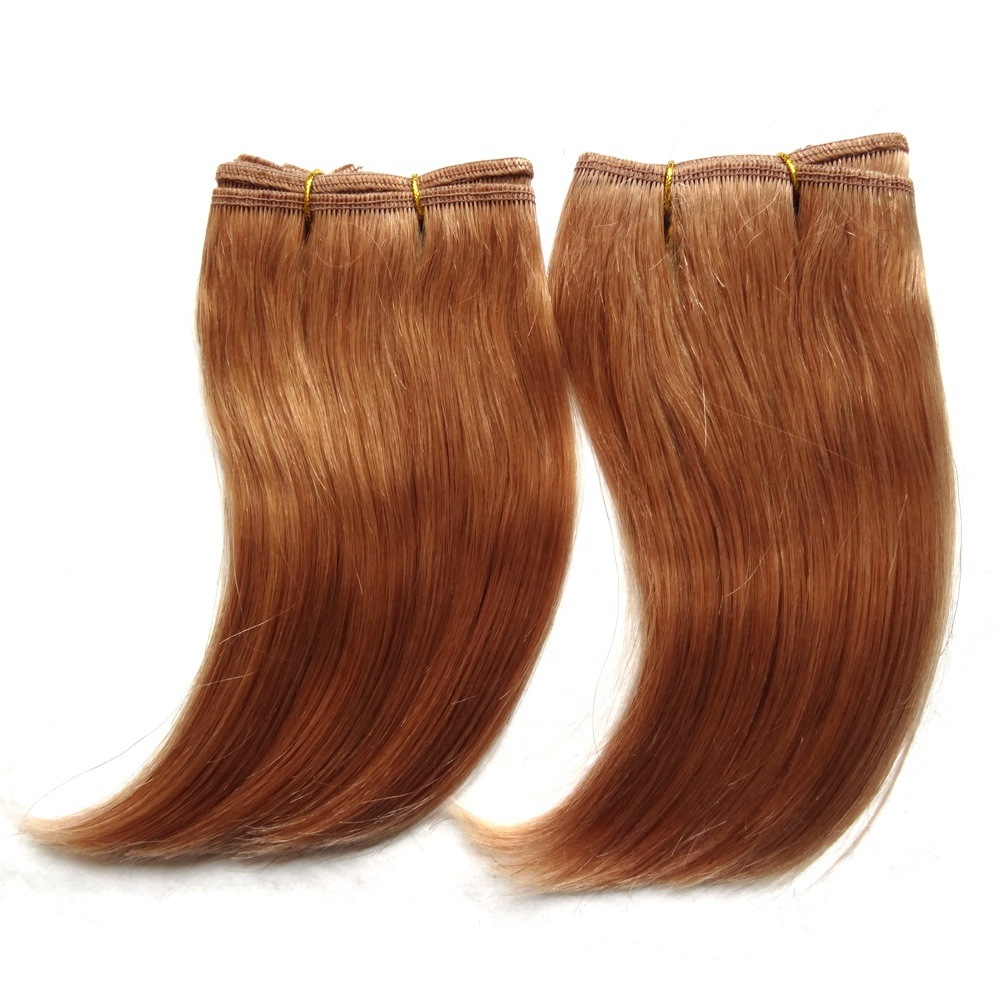 Free Shipping in stock 6inch <strong>J</strong> curl 27# honey blonde single weft weave 100% virgin Brazilian short hair extensions
