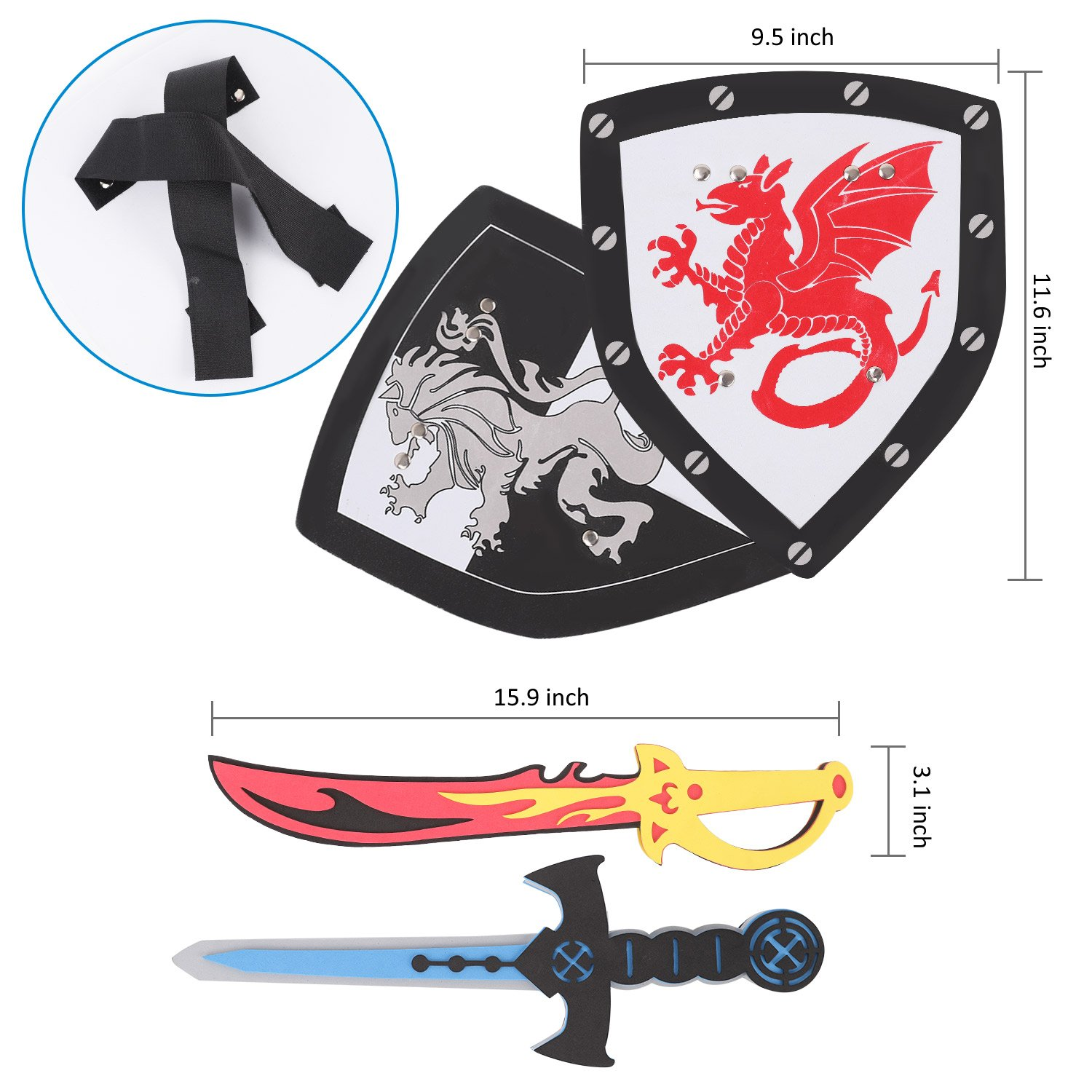 Lightweight safe diy foam sword and shield toy sets for kids party activities
