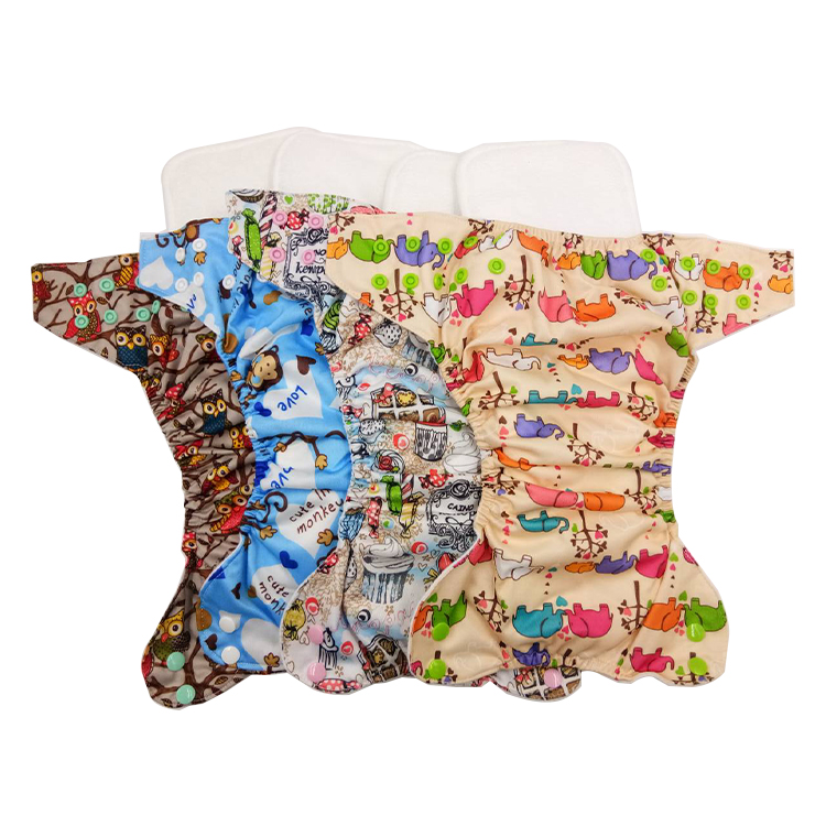 PUL Reusable Newborn Baby Suede Cloth Nappy Washable Wholesale Bulk Cloth Diapers factory in China printing