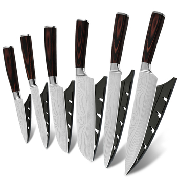 Hot Selling 6Pc Chef Knife Set Damascus Veins Pakka Wood Handle Knife Kitchen 7Cr17Mov Stainless Steel Kitchen Knife Set