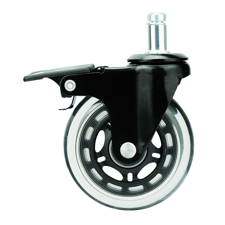 Transparent PU rollerblade office chair caster <strong>wheels</strong> 5 pieces