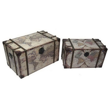 decoration wooden antique storage chest trunk,set of 3