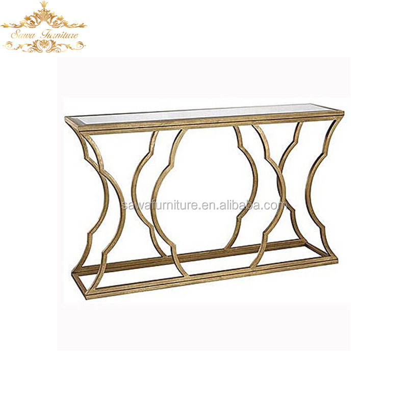 sawa stainless steel and glass table using for hotel/event/wedding party in gold white silver color