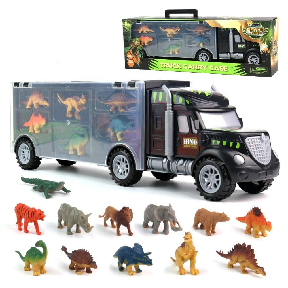 BIG DISCOUNT Dinosaur Toys Car - Transport Carrier Truck Toys with Animals Toys <strong>12</strong> Pcs Double Inside Storage Set for Kids Boys