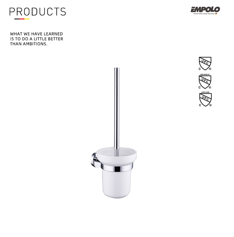 Hanging Toilet Brush Holder And Ceramic Holder Chrome Finish Toilet Brush Set