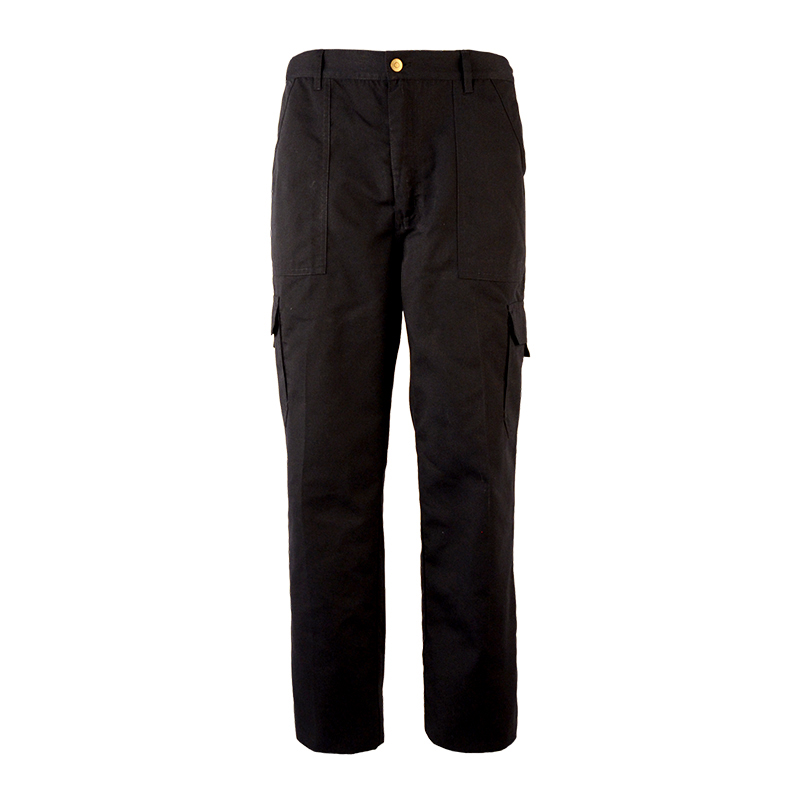 Men Outdoor Black 6 Pockets Zipper Fly Workwear Working Pants