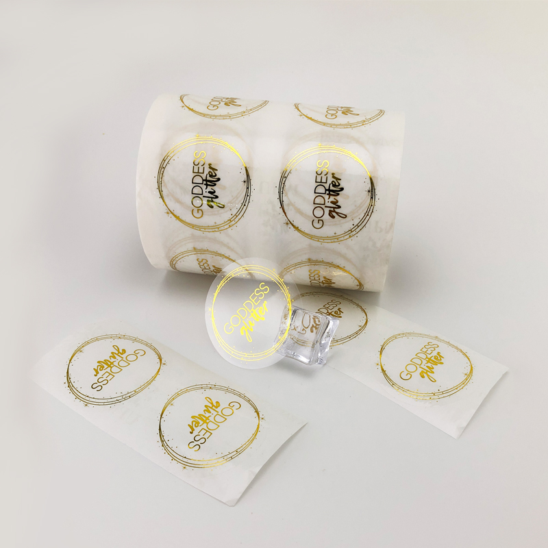 Customised Logo Colored Waterproof Gold Foil Transparent Sticker Label Roll