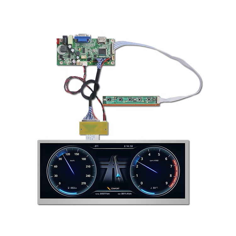 Automotive ultra-wide stretched lvds ips lcd 12.3 inch car lcd display 1920x720 <strong>1000</strong> nits Car instrument cluster high brightness