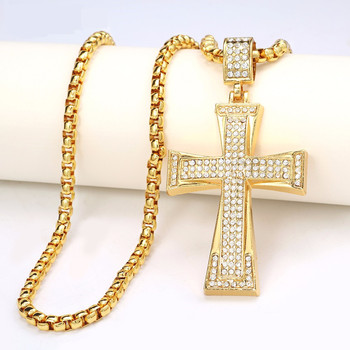 Ethlyn Big Cross Necklace Pendant Jewelry Unisex Gold Plated Trendy INRI Crucifix Jesus Christ Cross Pendant P46