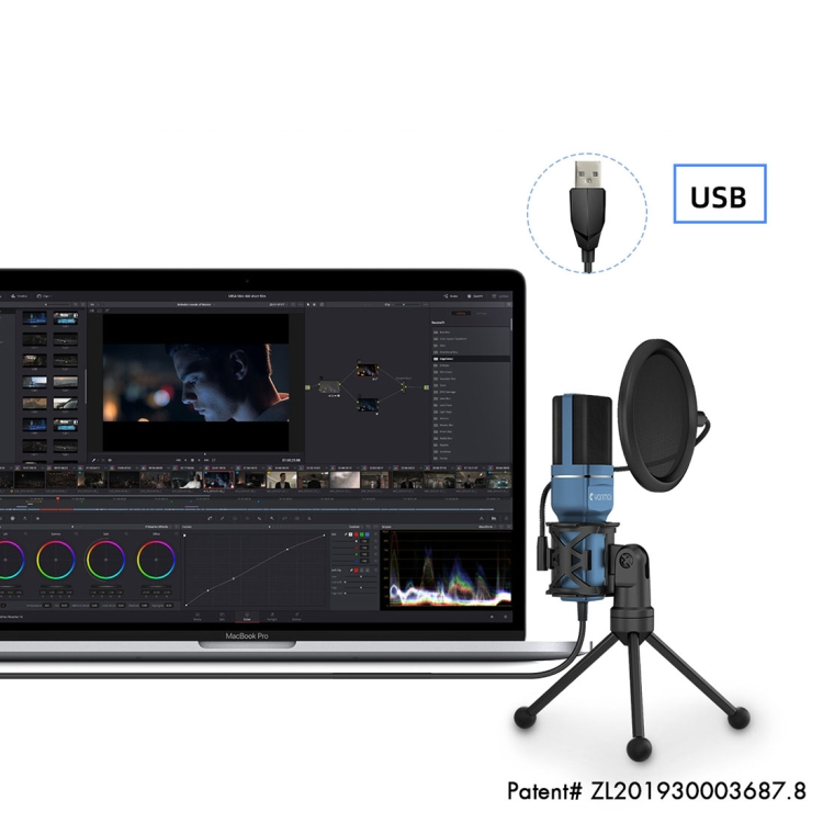 Yanmai SF-777 1.4m Computer Game Recording Condenser Microphone with P op Filter & Tripod Stand