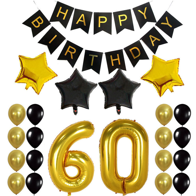 "30th Happy Birthday Party Balloons Supplies Decorations Large 30 Years Foil Balloon 12"" Gold White and Black Latex Balloon"
