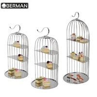 Other hotel & restaurant supplies 3 tier high tea stand catering buffet bird cage cupcake cake stand for banquet