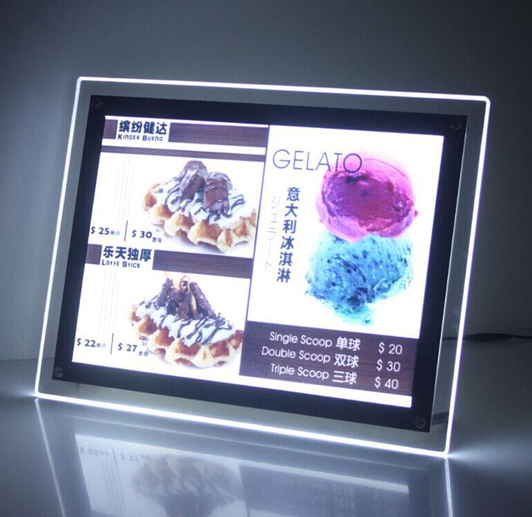 Picture Frame Acrylic Photo Frame <strong>Slim</strong> Crystal <strong>LED</strong> <strong>Light</strong> for menu board