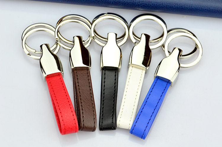 Customized promotional metal and genuine leather strap sublimation car logo keychain keyring
