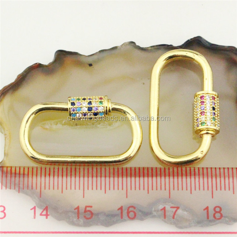 CH-HDP0191 Good quality colorful oval cz clasp,cubic zircon micro pave charm,closure bracelet/necklace component wholesale
