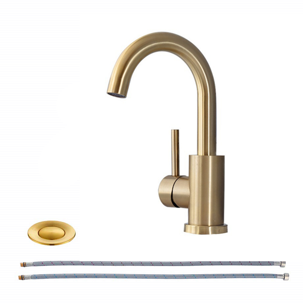 Brushed Gold Bathroom Lavatory Faucet Modern Bathroom Sink Faucet Bar Vanity Faucet With <strong>360</strong> Rotate Spout