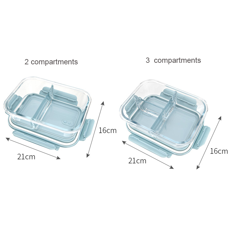 Kitchen Household Rectangle Glass Crisper With 3 Compartments  Food Preservation Box