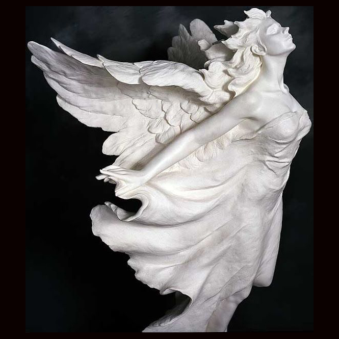 Famous design outdoor religious decoration handcarved carrying man woman child marble angel statue