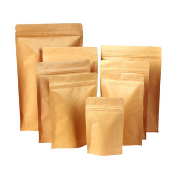 63# Custom Candy Cake Tea Stand Up Packaging Kraft Paper Bag With Window And Zipper