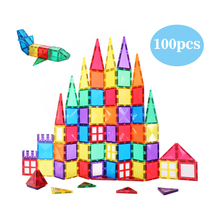 MNTL educational 100pcs clear magnetic building tiles toys blocks plastic construction set for kids CPSC, CE, EN71, ASTM
