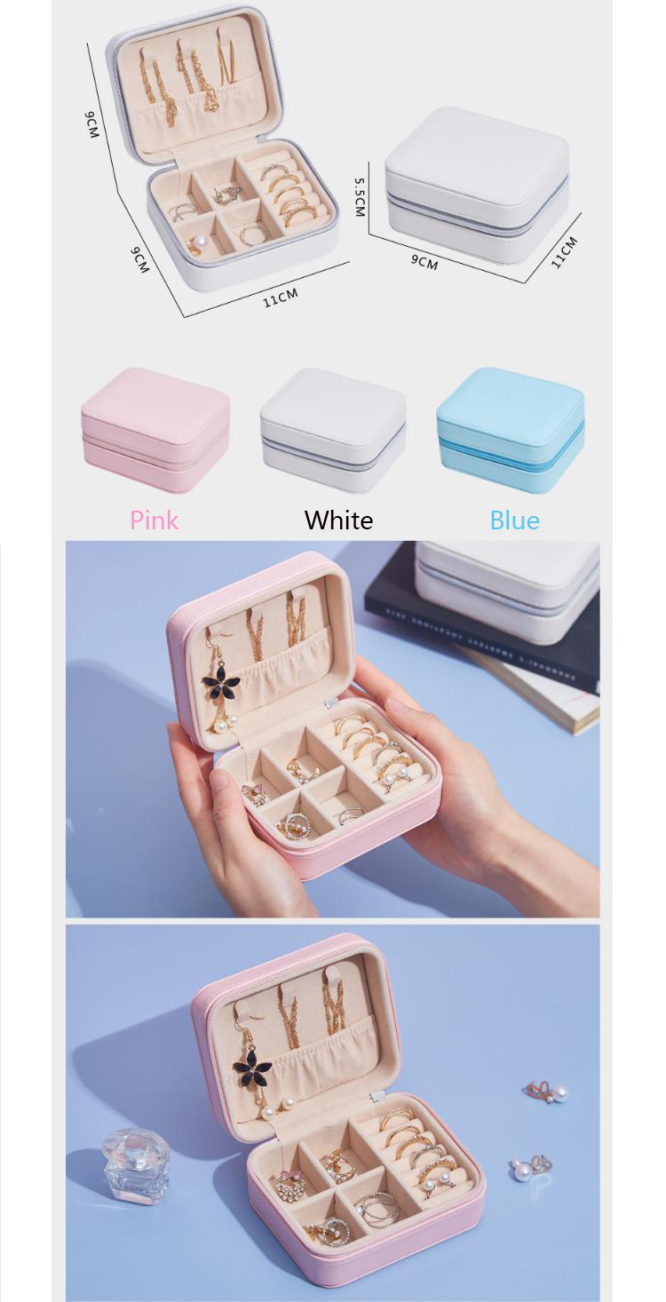 Wholesale pink packaging ring  earring jewelry box packaging for travel Jewelry Organizer