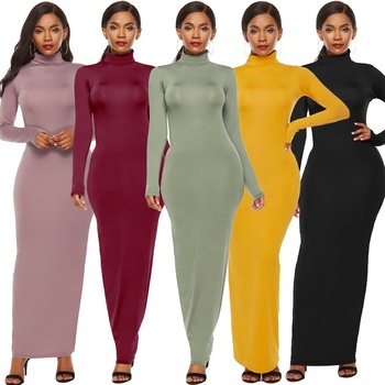 Latest Design Women Solid Color Long Sleeve Stretch Turtleneck Bodycon Maxi Casual Dress