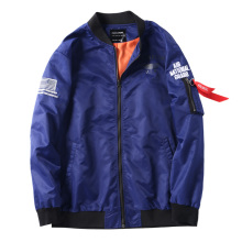 <strong>Men's</strong> blue 100% nylon bomber <strong>jackets</strong> with loose backs embroidered casual coats