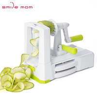 Smile mom Zucchini Sebze Spiralizer Food Veggie Cut Hand Held Spiral Slicer Vegetable 5 Blade Spiralizer