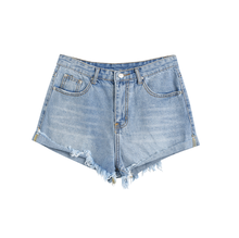 Effiloché À Revers Poche femmes short en jean denim