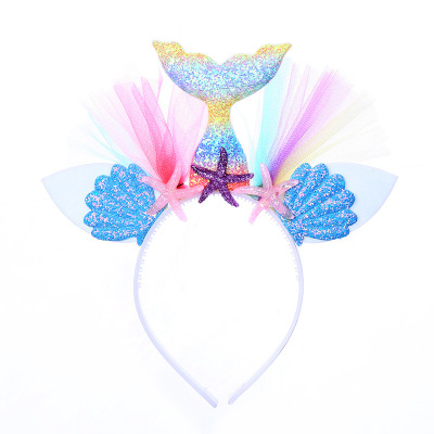B453 Girl Mermaid Tail <strong>Hair</strong> Sticks Cute Kids Shells Sequins Headband Fashion Blink Starfish Hairwear Party <strong>Hair</strong> <strong>Accessory</strong>