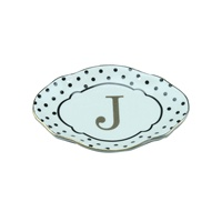 Wholesale Ceramic Jewelry Dish Accessories Or Ring Letter Ceramic Trinket Dish For Wedding