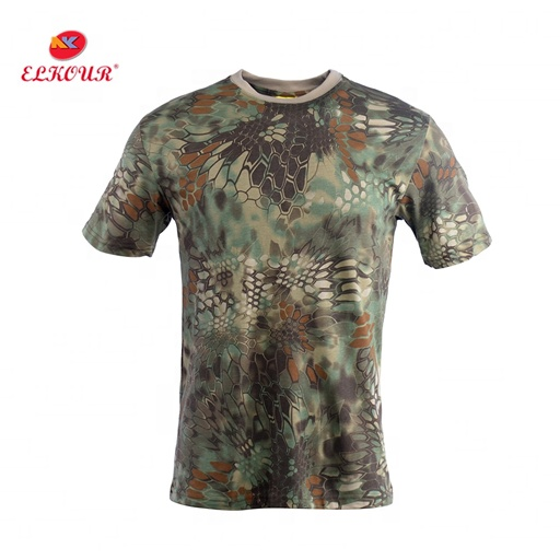 Military t-shirt camouflage men's green color tshirt in stock