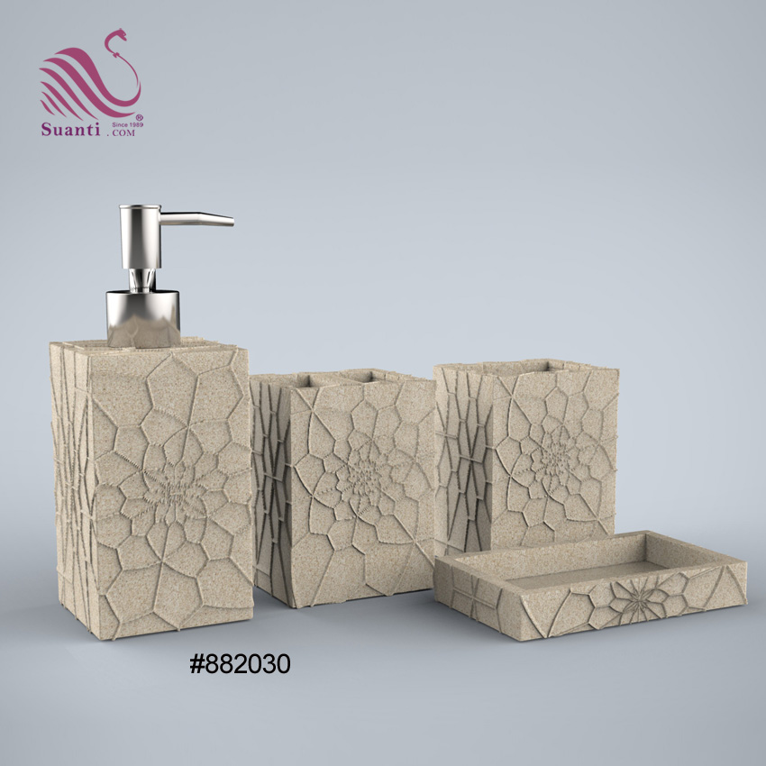 Factory Price Sandstone Exquisite Carving Bathroom Accessories Bath Sets for Home Decor