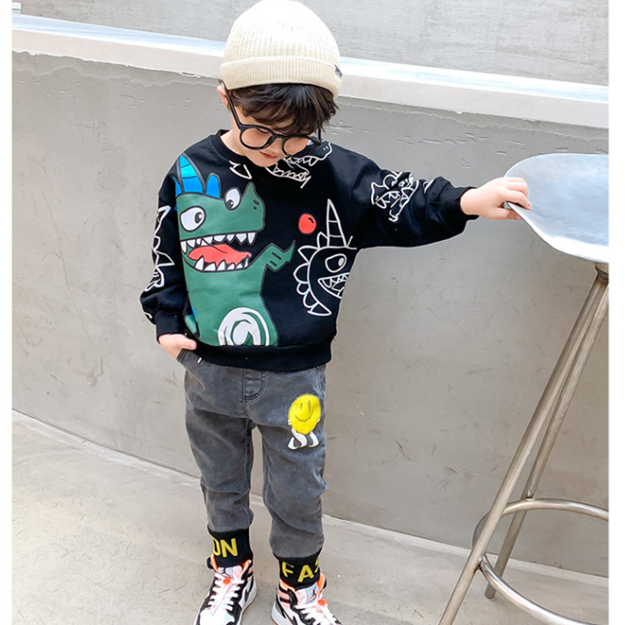 KS1035 Cute print kids cotton crewneck dinosaur hoodie new fall casual boys sweatshirt