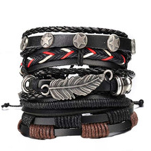 5 Pcs Braided Leather Bracelets for Men Cuff Wrap Wristbands wholesale