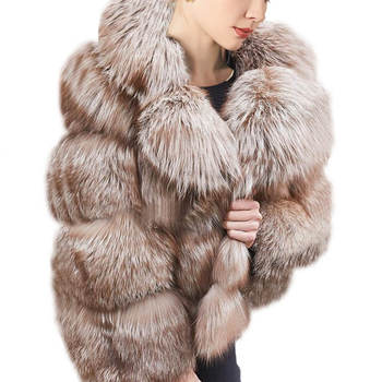 High-end Warm Genuine Fur Collar Jacket Women Luxury Winter Pom Pom Natural Coffee Fox Real Fur Coat For Ladies