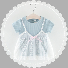 baby <strong>girl's</strong> <strong>dress</strong> with lace edged kids clothing summer party princess <strong>dress</strong> 6months to 3years
